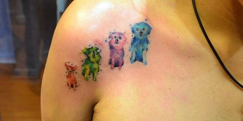 Cute Watercolor Pets Tattoos On Front Of Shoulder