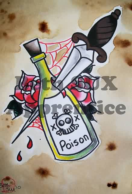 Dagger Into Poison Bottle And Roses Tattoos Flash