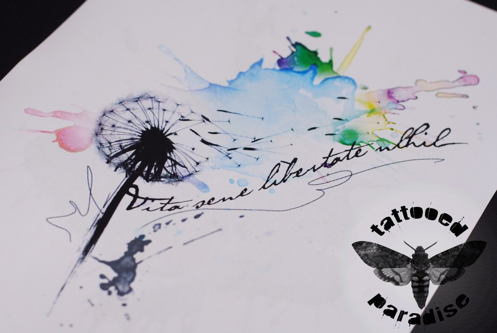 Dandelion Watercolor And Lettering Tattoo Designs