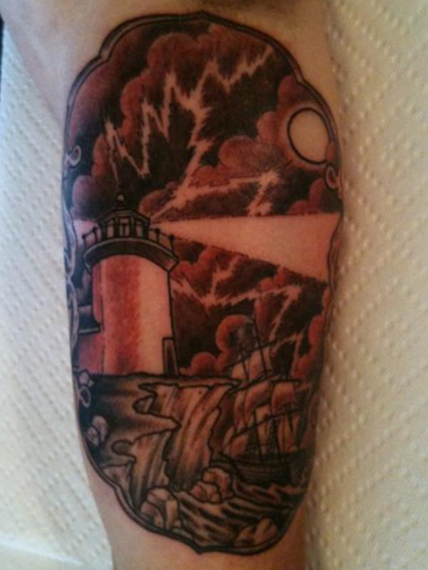 Dark Lighthouse And Ship Tattoos