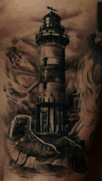 Dark Realistic Lighthouse Tattoo