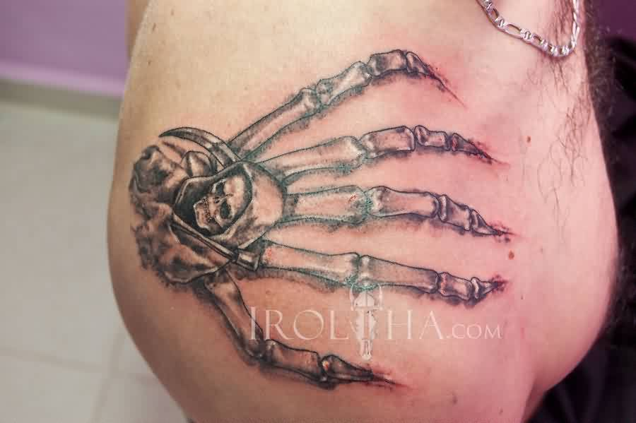 Death Hand Bones Tattoo On Shoulder
