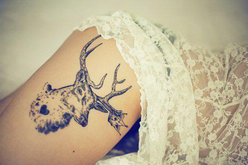Deer Tattoo On Upper Thigh For Girls