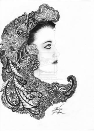 Designer Hair Egyptian Queen Tattoo Sketch