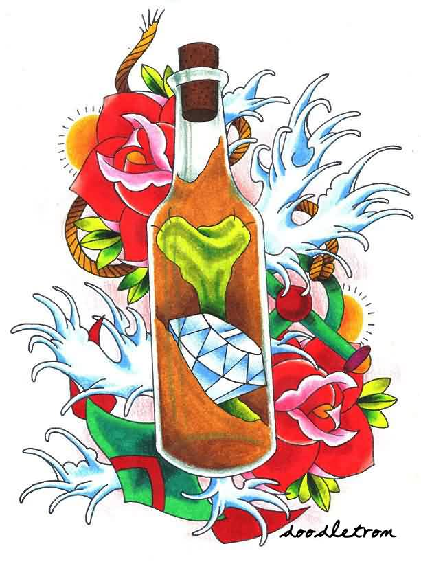 Diamond And Bone In Bottle Tattoo Flash