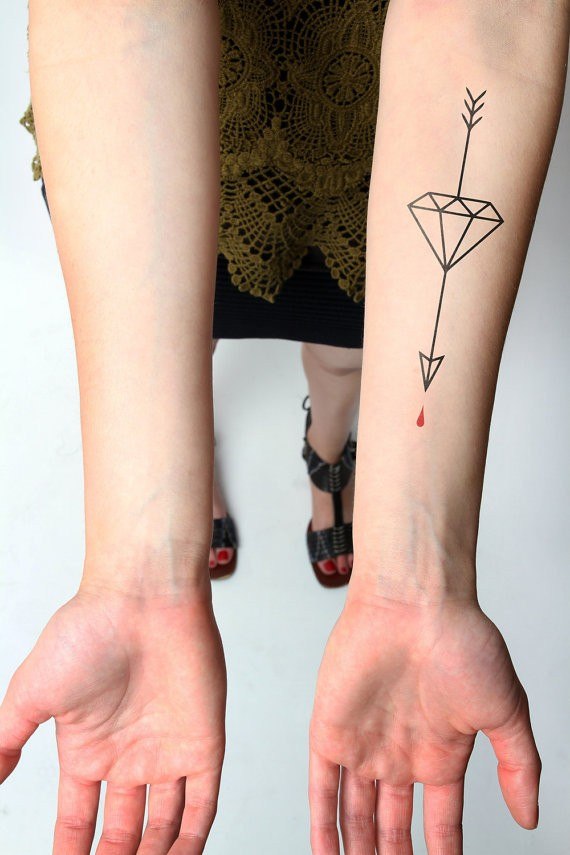 Diamond Arrow Temporary Tattoo On Left Forearm