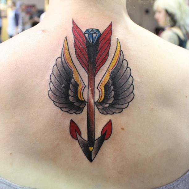 Diamond Arrow With Wings Tattoo On Back