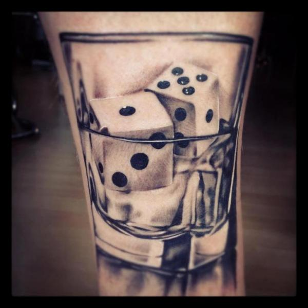 Dice Pair In Glass Tattoo