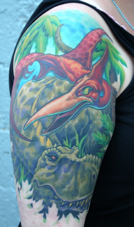 Dinosaur Tattoo On Half Sleeve