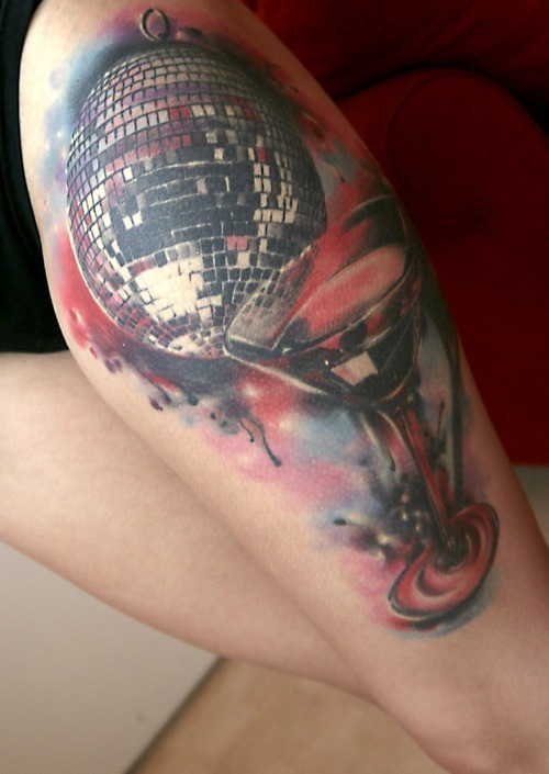 Disco And Wine Tattoos On Leg