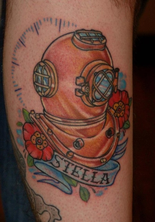 Diver Helmet Traditional Tattoo