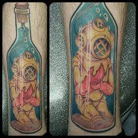 Diver In Bottle Tattoo