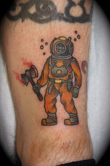 Diver Wearing Helmet Tattoo