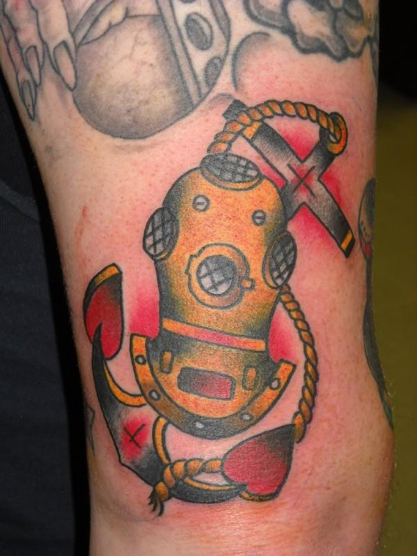 Diving Helmet And Anchor Tattoos