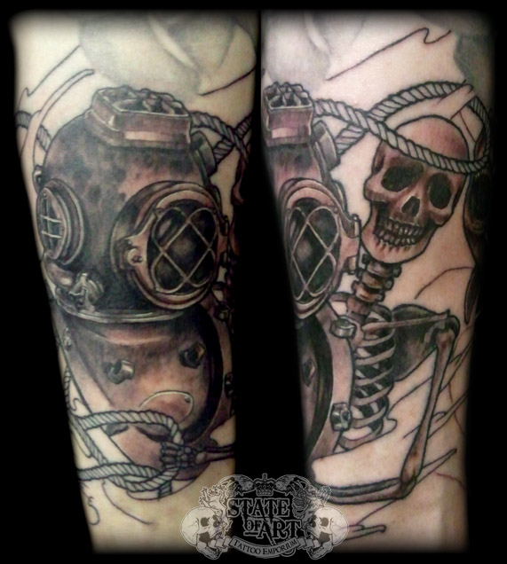 Diving Helmet And Skeleton Tattoos