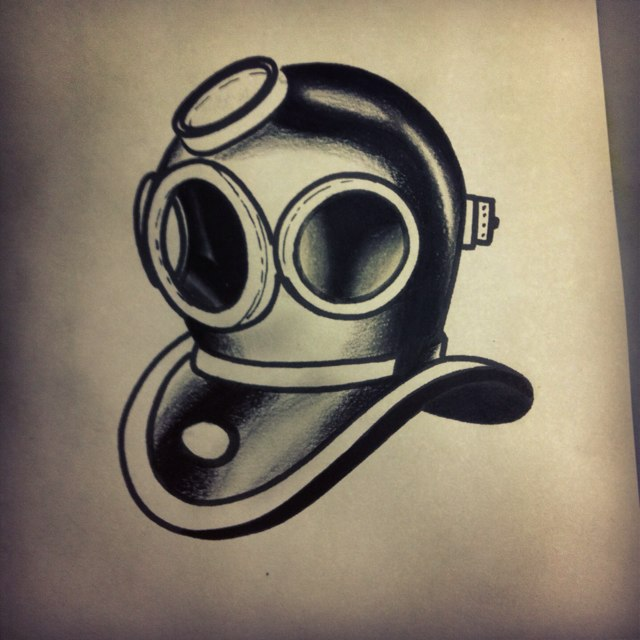 Diving Helmet Tattoo Design