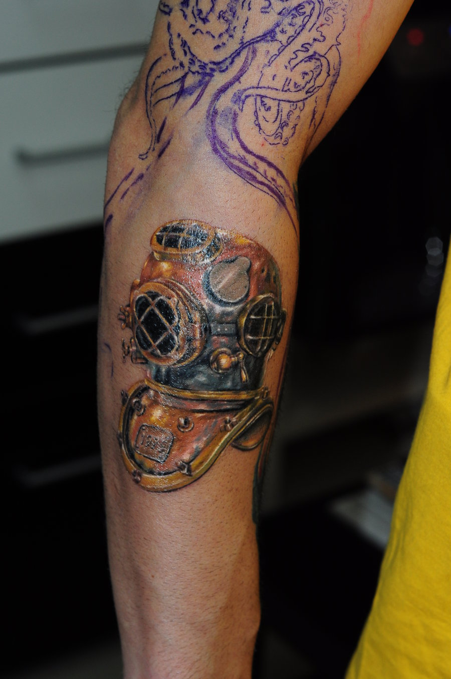 Diving Helmet Tattoo On Arm