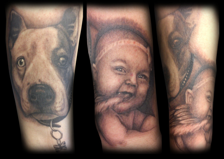 Dog And Sweet Kid Portrait Tattoos
