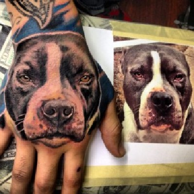 Dog Face Portrait Tattoo On Hand