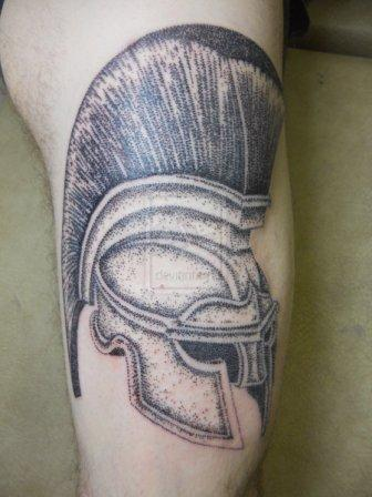 Dotwork Spartan Helmet Tattoo