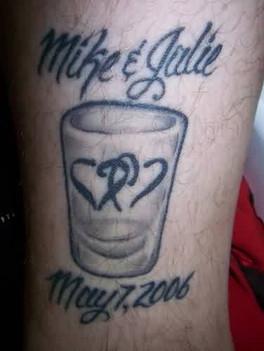 Double Heart Glass And Date Tattoos
