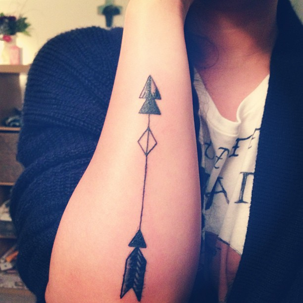 Double Triangle Arrow Tattoo On Arm