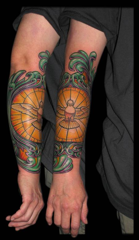 Dove Stained Glass Arm Tattoos For Guys