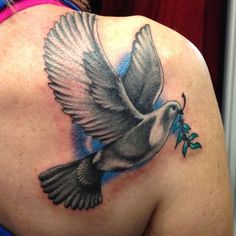 Dove With Leaves Tattoo On Right Back Shoulder