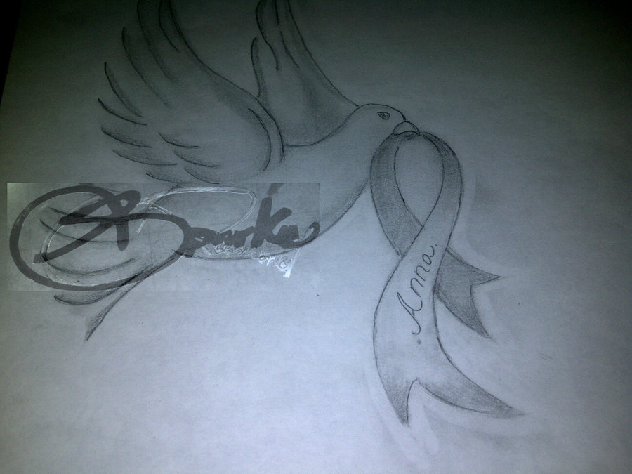 Dove With Ribbon Tattoo Sketch (2)