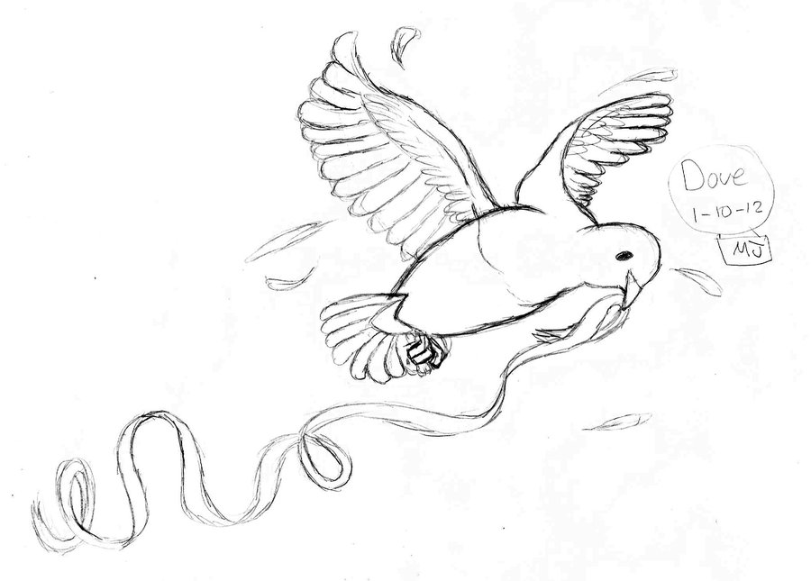 Dove With Ribbon Tattoo Sketch (3)
