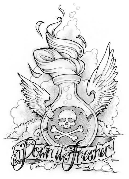 Down It Fresher Bottle Tattoo Design