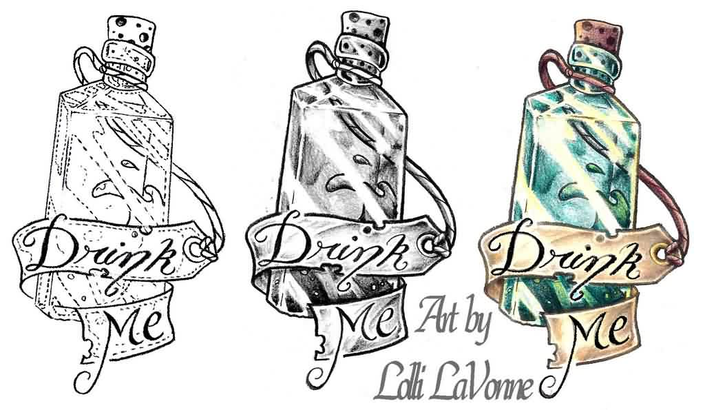 Drink Me Bottle Tattoos Set