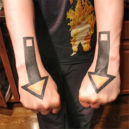 Dual Solid Black Ink Arrow Tattoos On Hands