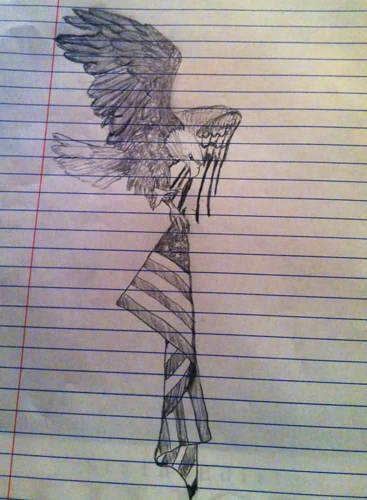Eagle And American Flag Tattoo Drawing