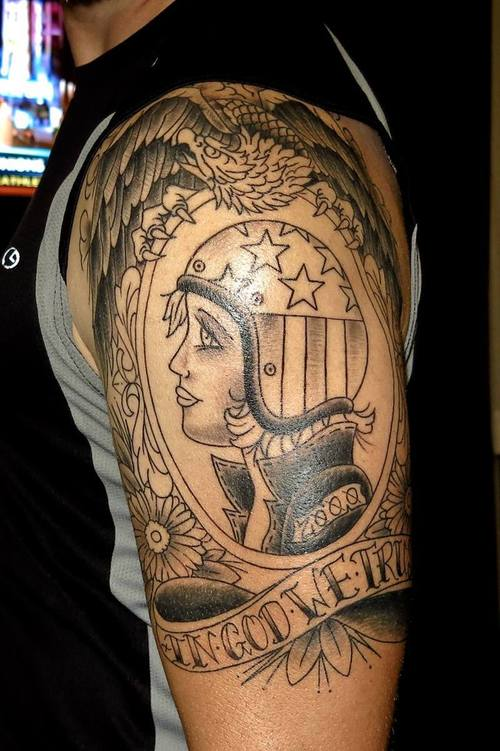 Eagle And Girl Head In Helmet Tattoos On Biceps