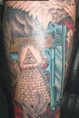 Eagle Gun And Eye Pyramid Tattoos