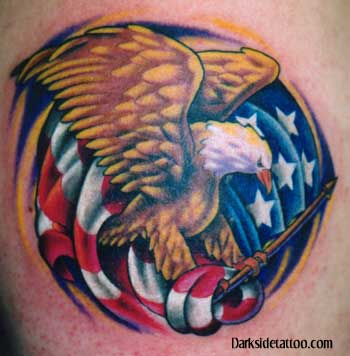 Eagle With American Flag Tattoo (2)