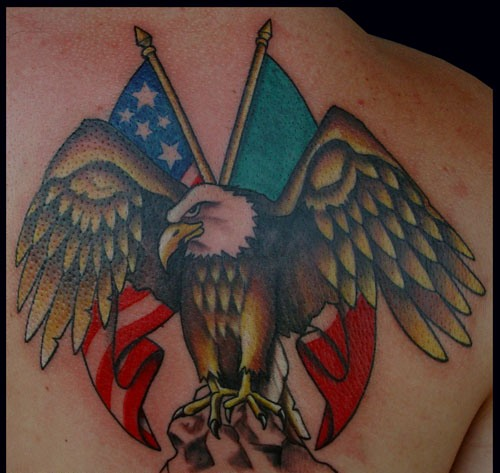 Eagle With American Flag Tattoo (4)