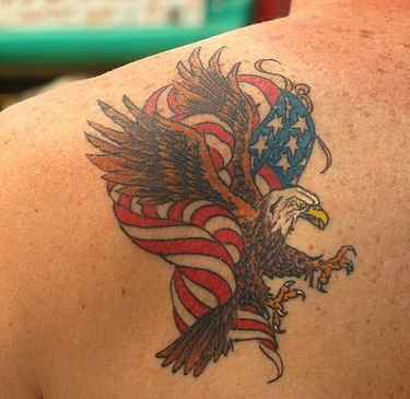 Eagle With American Flag Tattoo On Back Of Shoulder