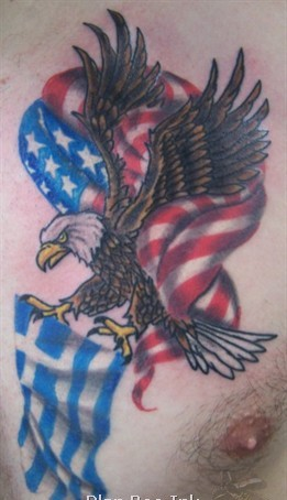 Eagle With American Flag Tattoo On Chest