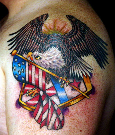 Eagle With American Flag Tattoo On Shoulder