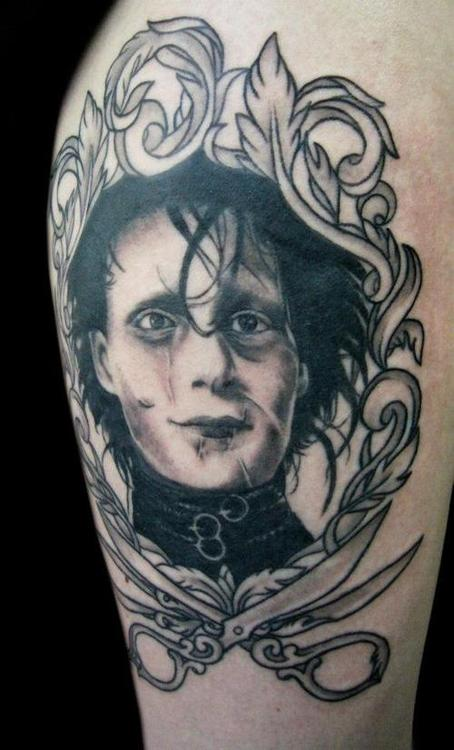Edward Scissorhands Portrait In Frame Tattoo