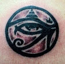 Egyptian Eye And Pyramid In Circle Tattoos