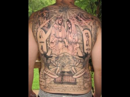 Egyptian Eye Pyramid And More Tattoos On Entire Back