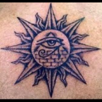 Egyptian Eye Pyramid In Sun Tattoo