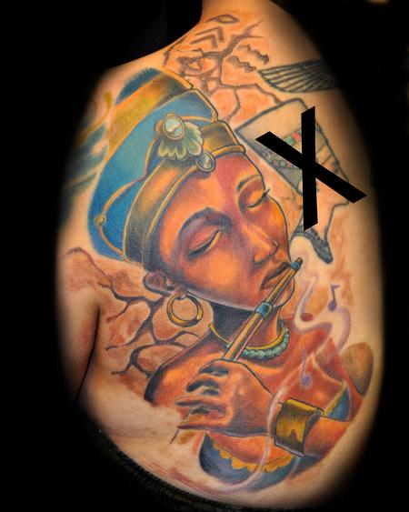 Egyptian Queen Playing Flute Portrait Tattoo