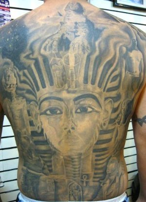 Egyption Queen Tattoo On Entire Back