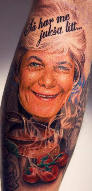 Electric Linda Portrait Tattoo On Sleeve
