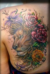 Elegant Flowers And Animal Head Tattoos