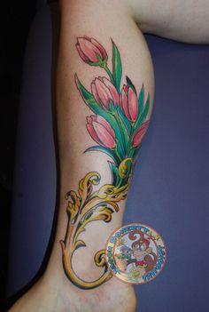Elegant Pink Tulips Tattoo On Leg